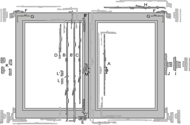 .Crémone semi-fixe avec levier à cote fixe pour châssis bois à rainure 7/8 | Fernand GEORGES